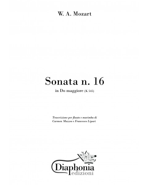 SONATA N. 16 IN DO MAGGIORE (K545) for flute and marimba