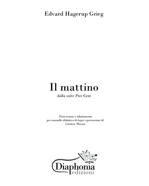 IL MATTINO (E. Grieg) for didactic ensemble of wood and percussion