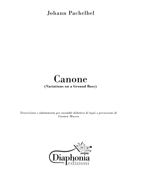 CANONE (J. Pachelbel) for didactic ensemble of wood and percussion