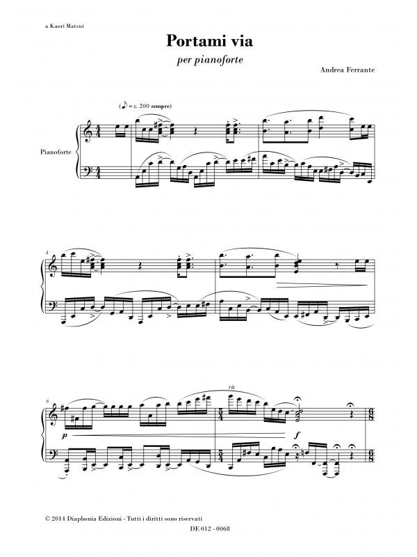 Portami Via For Piano Diaphonia Edizioni Musicali